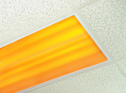 Amber Yellow Safelight in ceiling fixture