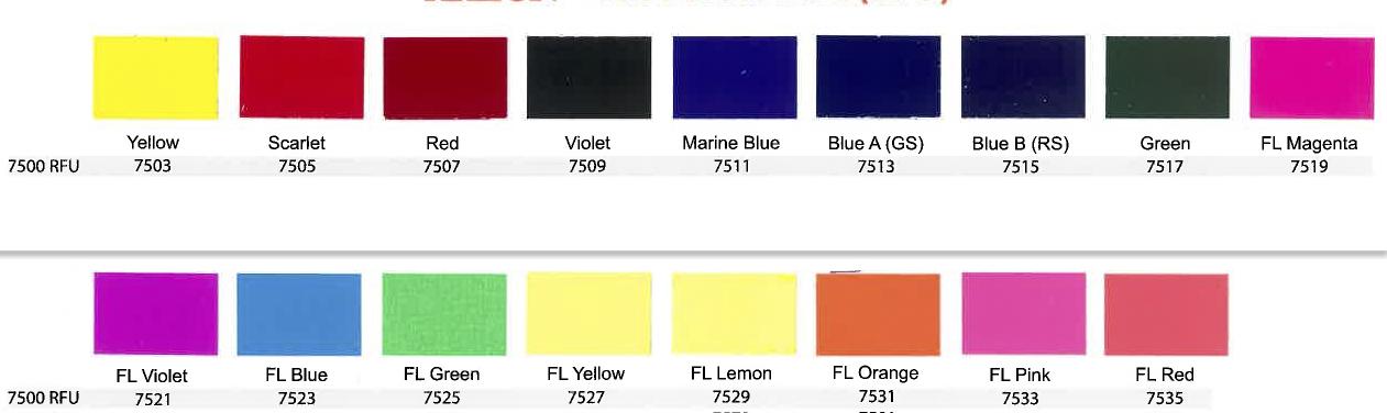 ICC 7500 UltraMix Color Chart